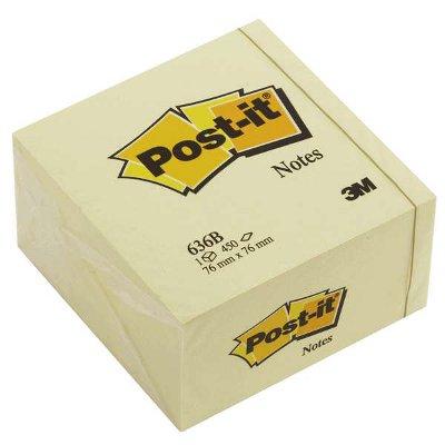 Αυτοκόλλητος κύβος Post-it 75x75mm Κίτρινος