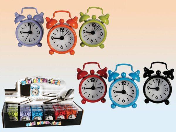 Ρολόι - ξυπνητήρι 6 χρώματα Υ6x4εκ. σε κουτί απο pvc